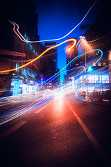 Neon Spaghetti (duncan_mclean) Tags: lights longexposure neon 5thavenue accident street accidental lighttrails le nighlights night headlights newyork city