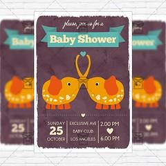 Baby Shower Vol4 - Premium Flyer Template + Instagram Size Flyer (ExclusiveFlyer) Tags: birthdayinvitation blue card celebration children cute daughter father firstbirthday girl godfather godmother babyshower kids