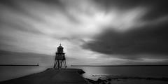The Groyne at sunrise (Hawk 3663) Tags: mono blackwhite groyne tynemouth longexposure samsungnx300 sky sea water
