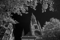 Plaa Santa Eullia - Infrared Light (Gatria) Tags: plaa santa eullia europe spain palma de mallorca baleraische inseln balearic islands illes baleares islas schott rg 780 nm canon 5d mk ii ef 2470 mm 28 infrared infrarood infrarot contrast tree church black sky