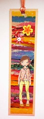 BM7 - Handmade bookmark (tengds) Tags: bookmark multicolored orange girl flowers ribbon papercraft handmade tengds