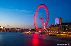 London Eye at dusk (lightsnappers.com) Tags: archictecture blue blur building capital capitalcity city cityscape colour dusk england lightsnappers london londoneye night nikond750 photographer photographyexplorers red river sky slowshutterspeed sunset thames touristattraction touristattractiondorset unitedkingdom wheel cornwall