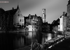 nights in white (& black) satin (jesuscm [2 weeks off]) Tags: blackandwhite bw byn blancoynegro night noche canal nikon belgium bruges brujas middleage blgica medievo jesuscm magicunicornverybest