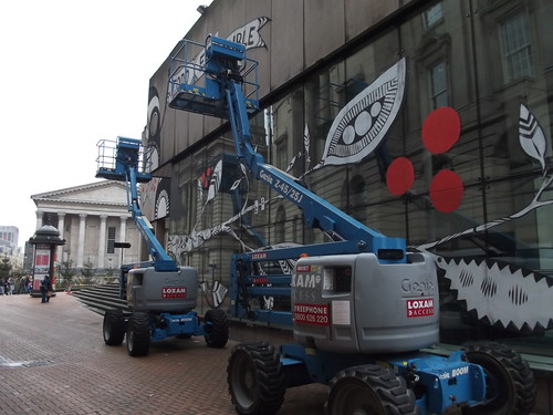 A pair of Genie Loxam Scissor Lifts - Birmingham Central Library