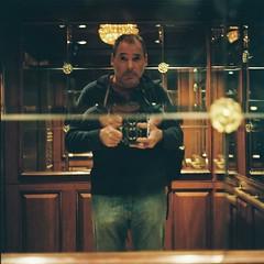 Rolleiflex 2.8e -- Venetian Hotel Elevator -- Las Vegas Self Portrait (C Shore) Tags: selfportrait film rolleiflex lasvegas elevator venetian rolleiflex28e