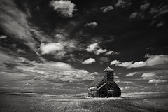 Arena Church (Rodney Harvey) Tags: blackandwhite abandoned church north arena infrared remote lonely desolate dakota ghostown