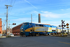 VIA 57 crosses St-Ambroise street on its way to Toronto (Michael Berry Railfan) Tags: cn train quebec montreal viarail ge sthenri generalelectric canadiannational levelcrossing stambroise p42dc genesisseries via57 via918