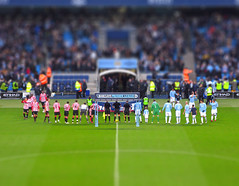Goodbye Mark Hughes, Hello Roberto Mancini - fake tilt shift (davekpcv) Tags: green canon catchycolors manchester football soccer siti manchestercity mcfc tiltshift etihadstadium manester