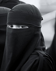 Blackest eyes (NRG Photos) Tags: blackandwhite woman face eyes gesicht veil candid muslim hijab cologne kln augen frau niqab porcupinetree schleier schwarzweis muslima blackesteyes schnappschus hidschab