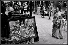 Prospective Buyer (ujjal dey) Tags: blackandwhite monochrome lady painting frame dreams ujjal shilparamam nikon50mm nikond90 ujjaldey ujjaldeyin prospectivebuyer