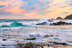 Rough Surf at Maiso Beach (-TommyTsutsui- [nextBlessing]) Tags: pink blue autumn light sunset sea sky orange seascape green beach nature yellow rock japan clouds landscape early nikon waves tide scenic      izu shimoda      kisami stormysea  sigma1750  onsalegettyimages