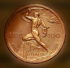 100 Lire (Renato Morselli) Tags: man money roma uomo 100 museo 1915 1918 lire soldi modello bassorilievo moneta vettaditalia mistruzzi nimismatica
