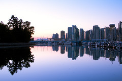 Coal Harbor at Sunrise (johnshlau) Tags: park canada vancouver sunrise reflections mirror harbor britishcolumbia stanleypark yachts coalharbor