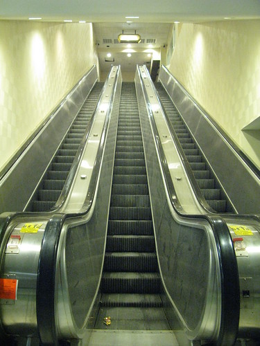 Bus terminal escalators showing red tag