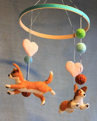 Custom baby mobile (Mirandy Pandy) Tags: dogportrait babymobile feltdog feltmobile custommobile feltcorgi custompetmobile
