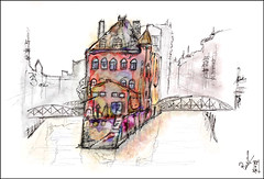 Hamburg Schpeicherstadt (rafaelmucha) Tags: city urban moleskine architecture pen ink watercolor sketch hamburg sketchbook stadt architektur wacom speicherstadt aquarell intuos skizze inkling schpeicherstadt