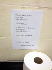Free verse poem about loo roll theft, toilet, ...