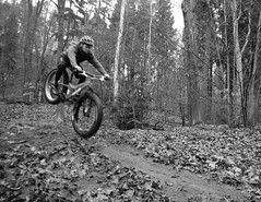 Nosedive (Hagbard_) Tags: flying jumping tour herbst mountainbike manual surly wald bltter bunt heide stausee 907 moonlander nosedive fatbike fatfun