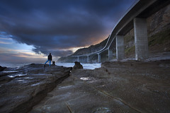 Seacliff Bridge (stevoarnold) Tags: bridge blue sunset seascape clouds moody sonia seacliffbridge