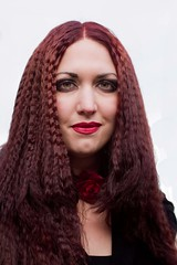 7D0023b Lovely Lady with Red Braided Hair - Whitby Goth Weekend 3rd Nov 2012 (gemini2546) Tags: nov goth week 3rd braided flowered red 2470 canon sigma hair 7d lens lovely lady whitby 2012 victorian choker