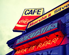 Park in rear () Tags: auto show street city usa classic cars sign breakfast bar night dinner america vintage silver way lunch photo washington cafe highway neon state image cola south united famous picture cruising diner coke spoon gritty retro neighborhood nostalgia 99 american nostalgic americana local tacoma cocacola states fading roadside cocktails popular coca greasy cruisers marcias