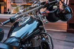 Triumph (R o s e n d o) Tags: chicago color reflection reflections helmet triumph motorcycle 35 f25 handlebars skopar voigtlandercolorskopar35mmf25 nex6