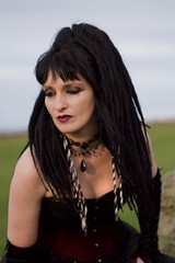 7D0077 Lovely Lady with Black hair in wine coloured basque - Whitby Goth Weekend 3rd Nov 2012 (gemini2546) Tags: nov black goth week length coloured 3rd 2470 canon sigma hair hair 7d lens lovely lady basque gloves wine beaded elbow whitby 2012 victorian choker extentions