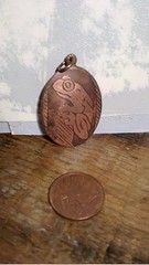 Etched Copper Pendant: small frog (rainypotato) Tags: water for etching eagle sale turtle salt frog copper raven etch pendant gwaii haida electrolysis