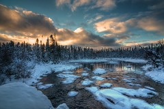 _MAD5251 (le Brooklands) Tags: trees winter sunset sky ice water clouds river nikon eau labrador hiver ciel arbres brook nl nuages hdr glace sigma1224 ruisseau translabradorhighway route500 couchedesoleil riviere d7000