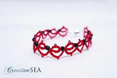BT002 (seandreea) Tags: red black bracelet tatting seedbeads rosu negru frivolite bratara bumbac margelenisip