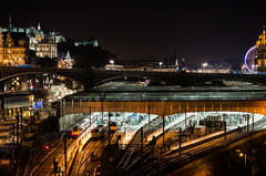 Waverley station (Getty Images) (Belhaven2011) Tags: from christmas street new roof streets glass station night train scotland nikon edinburgh nightscape nightshot edinburghcastle panes railway waverleystation christmastree railwaystation trainstation ferriswheel panels lothians waverley lothian northbridge midlothian 1685 1685mm nikond7000 belhaven2011 24700panes