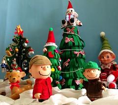 Still deciding at the Christmas Tree lot (Kewty-pie) Tags: hat peanuts christmastree deer elf charliebrown linusvanpelt
