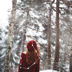 Take me home to the start (Malena T Persson) Tags: christmas winter red me norway forest canon hair 50mm scorpio starsign