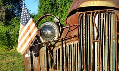 2016-07-27 - Studebaker (Paul-W) Tags: car dogwalk walk morning studebaker rust vintage old antique derelict 2016 grill headlight flag