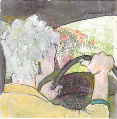# 206 (24-07-2016) (h e r m a n) Tags: auto stuur chauffeur driver vrouw woman herman illustratie tekening bock oosterhout zwembad 10x10cm 3651tekenevent tegeltje drawing illustration karton carton cardboard back rug rucke ruggenfiguur ruckenfigur