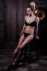 Boudoir (chetvericov) Tags: woman lady girl erotic sex sexy bra underwear bed legs warm indoor people wood panels