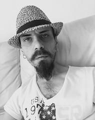 """Myself Portrait Now"". (giannipaoloziliani) Tags: giannipaoloziliani longbeard beard mystyle myface face liveshot now myselfportrait portrait justme selfietimer selfie relaxing relax sofa italy biancoenero monochromatic blackandwhite photography friend shotme myself io shot me"