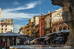 Piazza Delle Erbe (judit.rubio) Tags: nikond3000 nikor1855 nikon nikonistas italia italy verona pizzadelleerbe plaza square mercado market fuente source font agua water