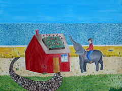 Bessie and her Elephant Friend Mabel Water the Rooftop Garden (Fauna Finds Flora) Tags: redhouse house beach garden elephant animal girl ride ocean sand swim woman watering whimsical story narrative illustration painting art nature faunafindsflora