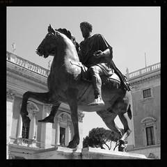Anche controluce  mirabile. (GiannLui) Tags: marcoaurelio campidoglio statua statuaequestre cavallo imperatore roma bronzo bronzodorato copia