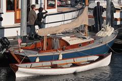 "IMG_2274 - Port Townsend WA - Port Hudson Marina - 40th Annual Wooden Boat Festival - pulling boat PROSPERO outboard sloop along east index pier (BlackShoe1) Tags: washington wa washingtonstate olympicpeninsula porttownsendwa boat boatfestival woodenboat classicwoodenboat woodboat ""northwest maritime center"" ""wooden foundation"" wbf nwmc ""port hudson"" wash pacificnorthwest pugetsound jeffersoncounty eastjeffersoncounty quimperpeninsula porttownsend victorianseaport prospero"