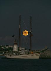 Monrise + Full Moon + Eclipse Puert de Ibiza... (elpitiuso) Tags: moonrise ibiza puerto sea boat luna llena fullmoon sky eivissa