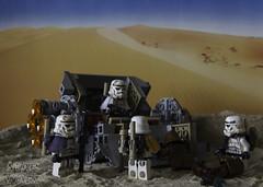 The Empire Move In (LegoLee) Tags: escapepod lego bradbury minifig minifigure toy canon sand sandtrooper imperial starwars desert droids r2d2 c3po hunt empire jawa