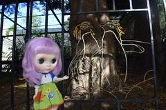 Isolde Brittany at the Penguin Gate 266/366 (Bebopgirl1969) Tags: blythe lavenderhug gate metalwork penguin edinburghzoo