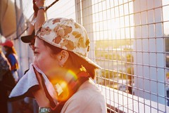Fion in sunset with sweat (Gregory Wu) Tags: summersonic osaka film contax 167mt carl zeiss planar