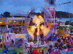 The Carnival Crowds (Steve Taylor (Photography) Internet V slow) Tags: newzealand christchurch people night fun amusement twilight ride dusk crowd guyfawkes fair canterbury bonfire nz spinning southisland caravan ropes bigwheel funfair pulley amusements sidewinder newbrighton