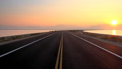 Long Way To Go (trek22 (on the road...)) Tags: road sunrise canon utah saltlakecity greatsaltlake 7d explored explore1 trek22 explore20121106