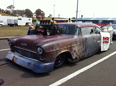 RAT 55 (54 Ford Customline) Tags: chevrolet chevy drags dragracing 55chevy 1955chevrolet trichevy blownbigblock