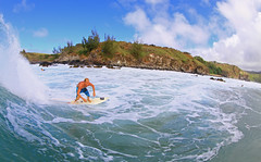 looking into the bay (bluewavechris) Tags: ocean sea sun water fun hawaii surf ride action surfer board wave maui cliffs foam surfboard lip thebay swell honoluabay honolua