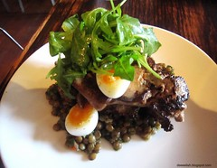 Duck Livers from Espana (deeeelish) Tags: arugula quailegg duckliver